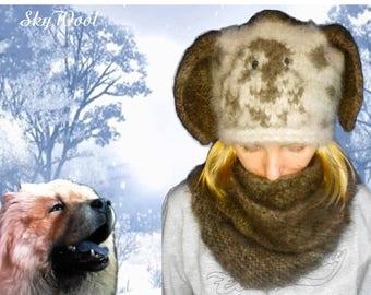 """Dog Wool Chiengora 100% Hand spinning Hat """"Spaniel"""""""