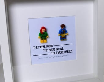 XMen//Shadow Box Frame//Jean Gray//Cyclops//Minifigures//Gift//Love//Anniversary//Engagement//Personalise//Geek//Comic//Lego//Valentines Day