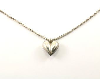 Vintage Heart Pendant Rolo Chain Necklace 925 Sterling Silver NC 980