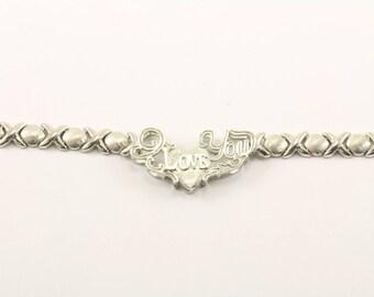 """Vintage """"I Love You"""" Necklace 925 Sterling NC 1048"""