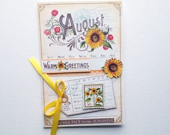 Birthday card, sunflower card, card collage, birthday card, august, august card, august birthday card, greeting cards, flower card, cards