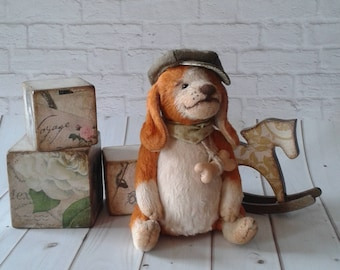Teddy puppy Beagle full of sawdust hand sewn collectible