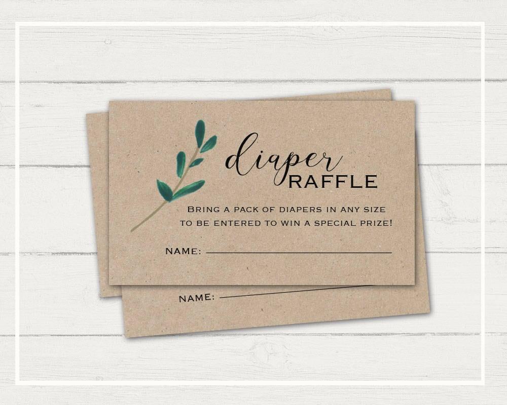 Rustic Diaper Raffle Card Greenery Baby Shower Kraft Paper