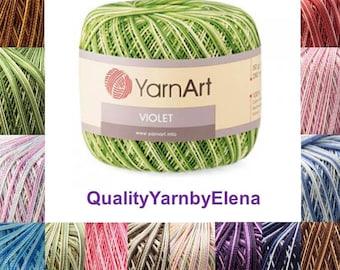 Violet  Melange-100% mercerized cotton yarn knitting crochet by Yarnart violet melange 50g 282m