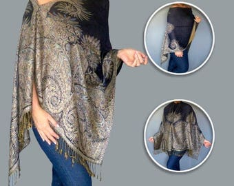 Navy Pashmina Shawl Wrap Women's Dark Blue Poncho By ZiiCi