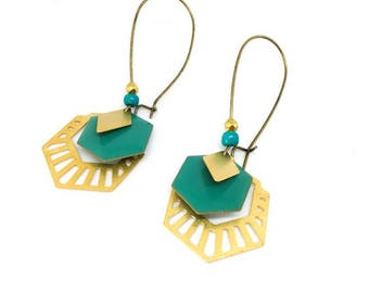 """Trendy and chic """"turquoise/gold/bronze"""" enamelled sequin earrings"""
