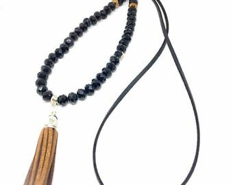 Suede necklace faceted Brown silver black trend