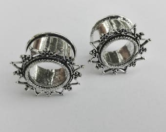 Plug Ear Tunnel Silver Color star Indian Design/silver plated dilations Indian style 20mm