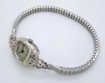 Wittnauer wristwatch etsy a vintage wittnauer quartz 14k white gold with diamonds ladies wristwatch sciox Choice Image