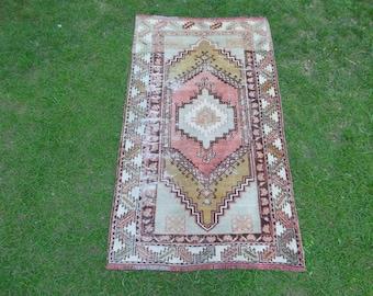 Vintage Turkish Rug, Natural Color Rug, Vintage Oushak Rug, Worn Rug, Distressed Rug, Faded Rug, Turkish Oushak Rug