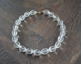 1950s clear beaded necklace