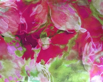 Bright pink and lime green floral silk fabric