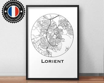 Card Lorient Minimalist Map poster. City map, city Poster, wall decor, map, print of Art. MP0062