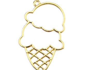 10Pcs Cupcake alice Bezel Gold Charm Bezel Setting Cabochon Setting UV Resin Charm Hollow shaped pendant