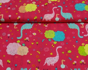 fabric patchwork kids pink Baby dino CAMELOT Fabric