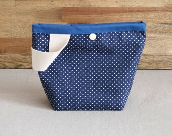 Blue project bag with snap button, for knitting or crochet