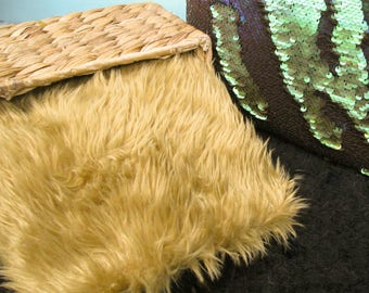 18x20 Camel Short Length Mongolian Faux Fur Nest Newborn Photography Prop Large Stuffer short Pile Faux Stuffer layering blanket