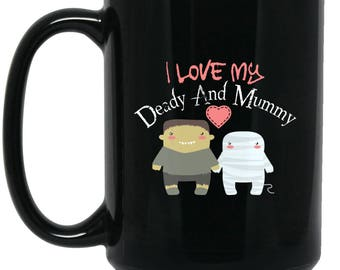 Cute Funny Mug for Mom and Dad - Deady and Mummy - Big Coffee Mug 15oz | Cute Scary gifts, Cute Coffe Cup, Funny Halloween Gifts, quotes