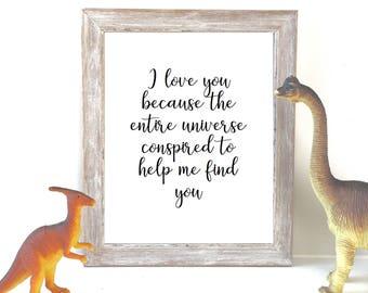 I love you because / Adoption print / fertility print / wedding print / adoption card / ttc print / family print