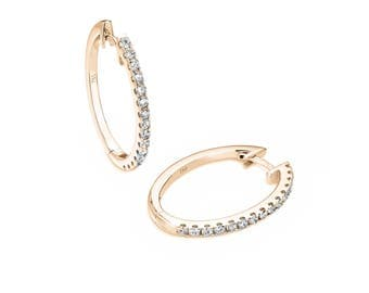 Oval Half Set Diamond Earrings in 18ct Yellow Gold