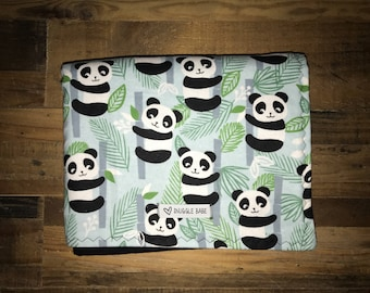 Panda Bears Double Sided Flannel Baby and Toddler Blanket