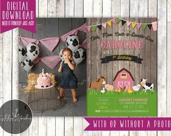 Girl Farm Birthday Invitation, Barnyard Birthday Invite, Farm Animals Invitation, Old McDonald, Photo - Printable DIY