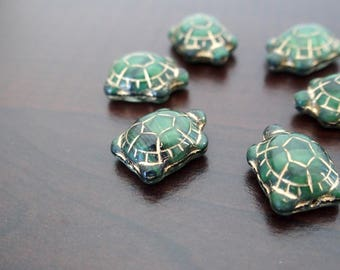 Set of 6 turtles green gemstones