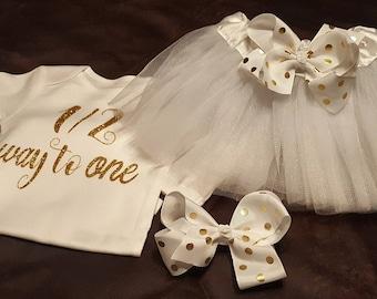 White and Gold Polka Dots TUTU Birthday Set, Half Birthday, 1st Birthday - TUTU, Onesie and Matching Bow