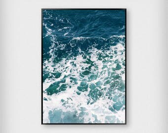 Blue Ocean Print | Nature | Bue - White | Waves - Sea - Poster