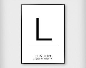 London | City | Black and White | Coordinates - Fashion - Poster