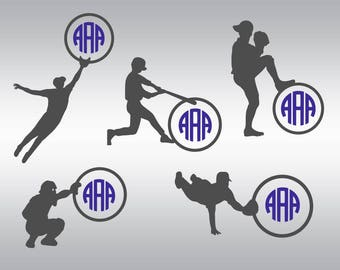 Softball boy monogram SVG Clipart Cut Files Silhouette Cameo Svg for Cricut and Vinyl File cutting Digital cuts file DXF Png Pdf Eps
