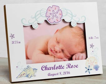 Personalized Baby Picture Frame, Baby Girl Picture Frame, New Baby Girl Frame, Baby Girl Frame, Baby Girl Birth Frame, Seashell Baby Frame