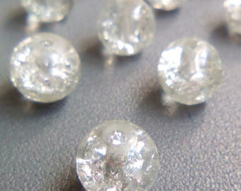 Crackle glass beads 22 clear 8mm