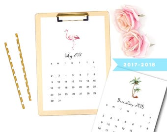 Printable 2018 Calendar, Flamingo Calendar, Digital Calendar, 2018 Printable Calendar, Tropical Calendar