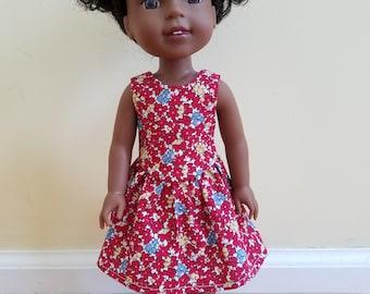 Red 1930's sundress for 14 inch dolls