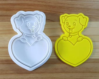 Puppy on the Heart Cookie Cutter and Stamp