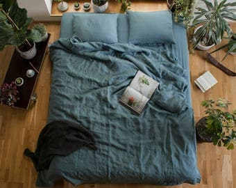 Blue linen Duvet Cover, Linen quilt cover,Linen Duvet Cover,Pure Linen Bedding,Custom Size Duvet Cover,Linen doona cover,Blue Bed Linen