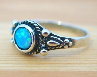 Sale - Opal ring, Opal silver ring, blue opal Ring, small opal Ring, silver Opal Ring, October birthstone, Gift For Her, Opal Jewelry,