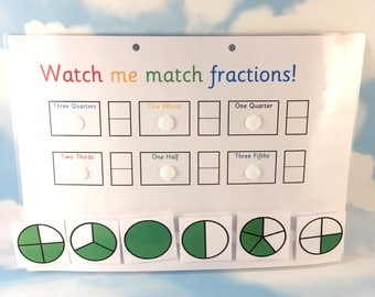 Fractions learning sheet, KS2, Matching game, maths aid, year 3, numeracy, removable pieces, key stage 2, clever crocodile, school work