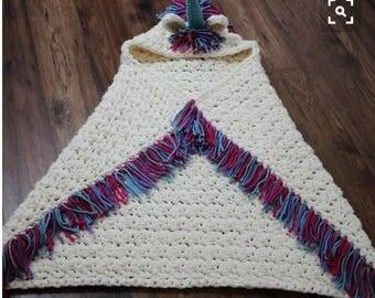 Crochet Hooded Unicorn Blankets, Crochet Blankets, Unicorn Blanket, Crochet Unicorn Blanket, Hooded Unicorn Blanket, Christmas Gift Ideas