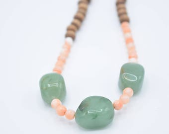 Green Agate and Coral Necklace 18""