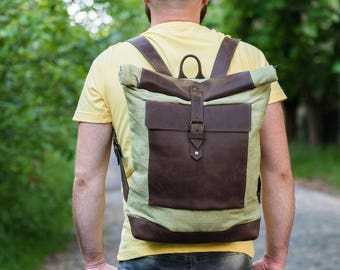 Canvas and leather backpack, roll top backpack, canvas and leather backpack, Men's backpack, rucksack, Saddle leather backpack