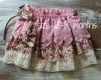Vintage baby girl ruffle skirt/ ONE SIZE ONLY