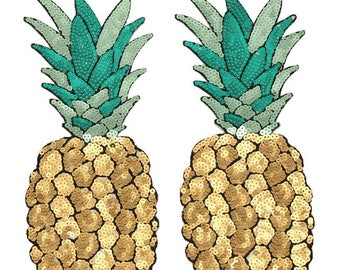 Sequinned Pineapple Iron On Patch