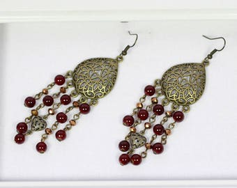 Chandelier earrings | Antique earrings | Red beads earrings | Bronze earrings| Teardrop earrings