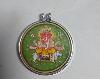 Glass Framed 92.5 Sterling Silver Hand Painted Hand Made Miniature Art Hindu Deity God Ganesha Pendant.Necklace Size 4.1 Cm.