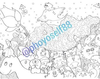 Lotus Pond Doodle Coloring Page - Doodle Art