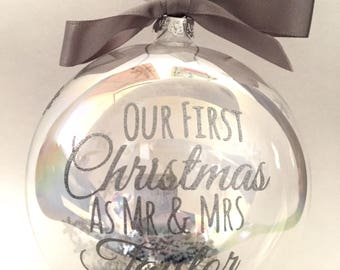 Personalised unique Christmas bauble, custom made luxury family tree decoration, silver glitter wording, large 10cm glass bauble
