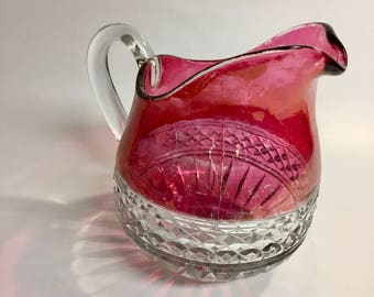 Vintage Ruby Flash Pitcher | 1World's Fair Souvenir Glass | EAPG | Pressed Glass | Cranberry Glass | Ruby Stained
