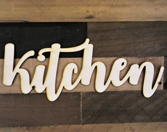 Kitchen Script Word Wood Sign, Wood Sign Art, Kitchen Wood Sign, Laser Cut Wood Sign, Cursive Wood, Kitchen word cut out, Wood Cut Out